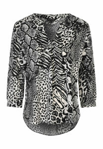 Womens Black Animal Print Blouse