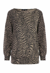 Womens Camel Animal Print Top