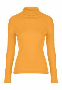 Womens Mustard Roll Neck Top