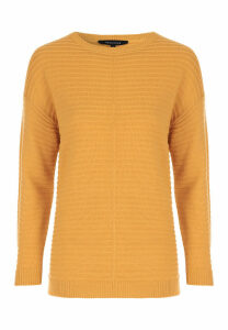 Womens Mustard Ribbed Reverse Seam Jumper