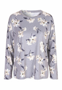 Womens Grey Floral Soft Touch Pyjama Top