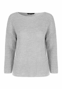 Womens Grey Asymmetric Panel Fishermans Jumper