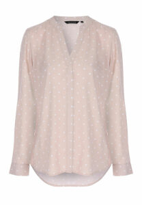 Womens Tan Polka Dot Blouse