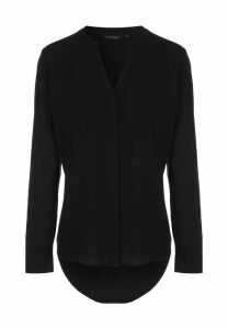Womens Black V-Neck Placket Top