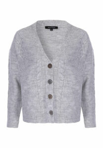 Womens Grey Cable Knit Cardigan
