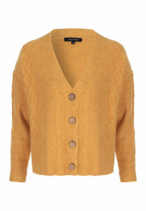 Womens Mustard Cable Knit Cardigan