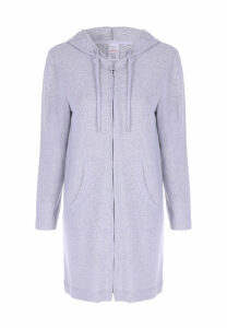 Womens Grey Soft Touch Pyjama Long Line Zip Hoody