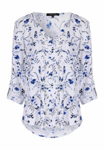 Womens Blue Floral Blouse