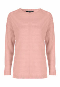 Womens Pink Ribbed Reverse Seam Jumper