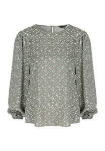 Womens Green Floral Blouson Sleeve Blouse