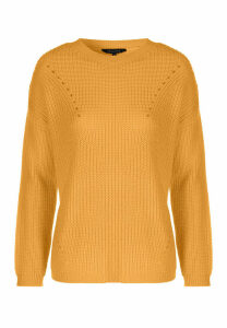 Womens Mustard Crew Neck Fishermans Jumper