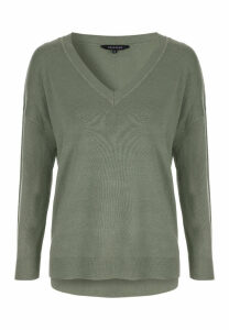 Womens Sage Oversized V Neck Jumper