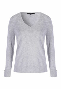 Womens Grey V-Neck Button Sleeve Jumper