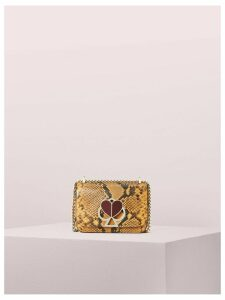 Nicola Snake Embossed Twistlock Small Convertible Chain Shoulder Bag - Marigold - One Size