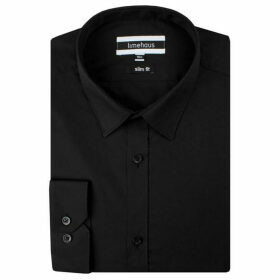 Limehaus Black Poplin Forward Point Shirt