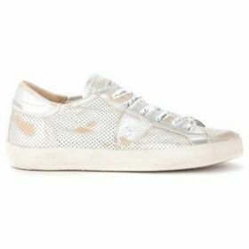 Philippe Model  Paris sneaker in vintage-effect silver perforated leather  women's Shoes (Trainers) in Silver