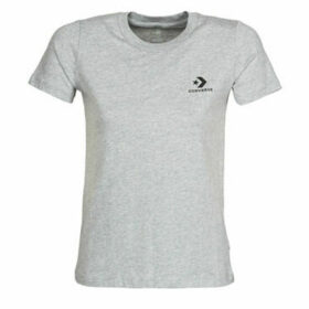 Converse  Stacked Logo Left Chest Tee  women's T shirt in Grey