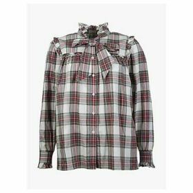 Barbour by ALEXACHUNG Bella Check Tie Waist Shirt, Red/Olive