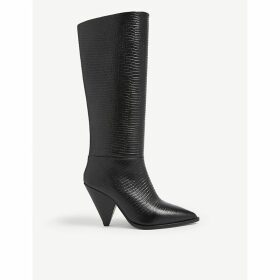 Snakeskin-embossed leather heeled boots