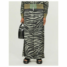 Zebra-print wide-fit high-rise crepe trousers