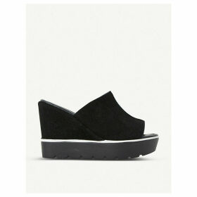 Dune Kammi suede mule wedges, Women's, Size: EUR 41 / 8 UK WOMEN, Black-suede