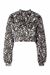 Womens Leopard Print Scuba Long Sleeve Top - black - 16, Black