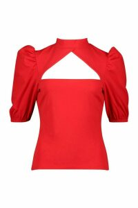 Womens Crepe Cut Out Detail Top - red - 8, Red