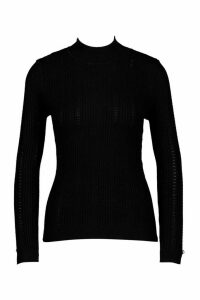 Womens Pointelle roll/polo neck Knitted Top - black - L, Black