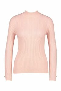 Womens Pointelle roll/polo neck Knitted Top - pink - M, Pink