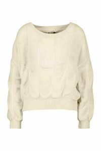 Womens Bobble Knit Jumper - white - M, White