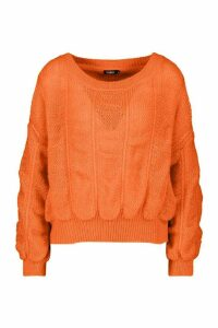 Womens Bobble Knit Jumper - orange - M, Orange