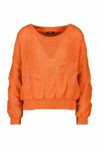 Womens Bobble Knit Jumper - orange - M, Orange