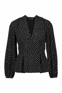 Womens V Neck Peplum Polka Dot Top - black - 12, Black