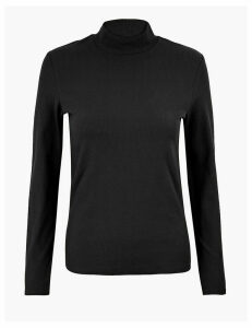 M&S Collection Cotton Rich Roll Neck Long Sleeve Top
