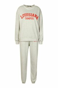 Womens Louisiana Campus Oversized Jumper Tracksuit - Grey - 14, Grey