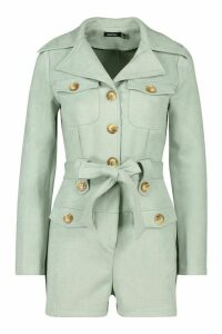 Womens Bonded Suede Utility Playsuit - Blue - 16, Blue