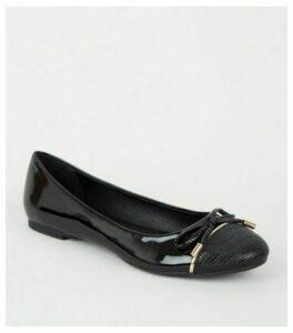Black Patent Faux Croc Toe Ballet Pumps New Look