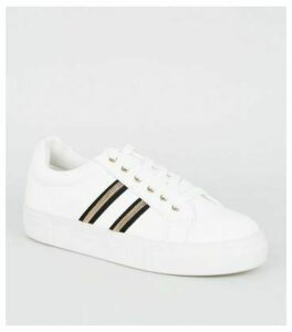 White Stripe Gem Trainers New Look