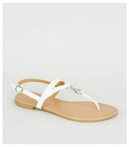 White Leather-Look Diamanté Ring Sandals New Look Vegan