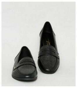 Black Leather-Look Faux Snake Loafers New Look Vegan