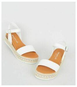 White Leather-Look Stud Flatform Sandals New Look