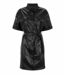 Cameo Rose Black Leather-Look Utility Shirt Dress New Look