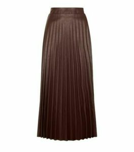 Dark Brown Coated Leather-Look Pleated Midi Skirt New Look