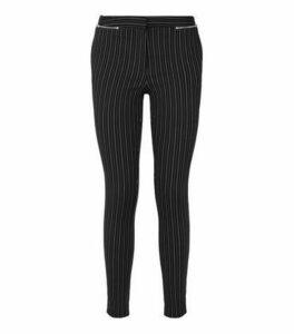 Black Pinstripe Zip Slim Stretch Trousers New Look