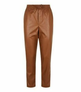 Rust Coated Leather-Look Tie Waist Joggers New Look