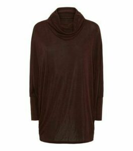 Blue Vanilla Dark Brown Roll Neck Batwing Jumper New Look
