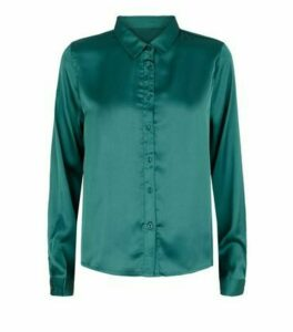 JDY Teal Satin Long Sleeve Shirt New Look