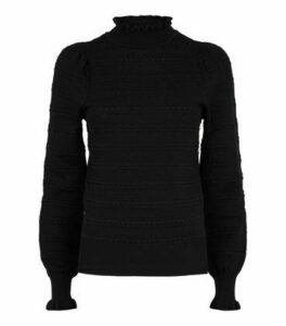 Black Pointelle Frill Trim Jumper New Look