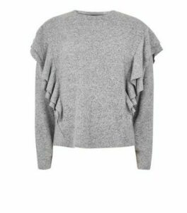 Grey Brushed Knit Ruffle Sleeve Jumper New Look