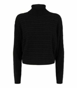 Black Cable Knit Roll Neck Crop Jumper New Look